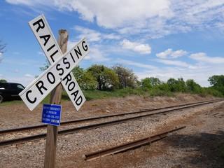 Wall Murals Railroad Close up of a crossing sign at a railroad track