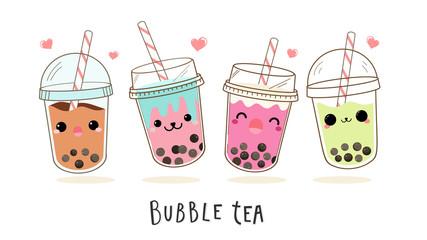 Cute Bubble milk tea cartoon characters vector set.  Design for Milk Tea Ads and Logo design template.