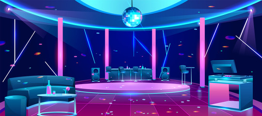 Nightclub interior with bright neon illumination, stools near bar counter, comfortable sofa, alcohol drinks on table, DJ equipment on desk, disco ball under dance floor cartoon vector illustration