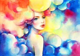 Obraz Abstract woman. Fashion illustration. Watercolor painting - fototapety do salonu