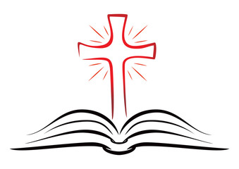 Open book with shining Christian cross inside