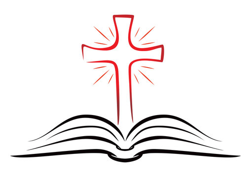 Open book with shining Christian cross inside