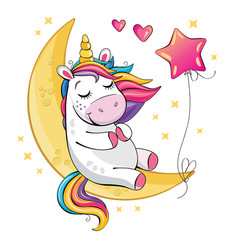 A cute funny unicorn is sitting on the moon and a pink balloon. Isolated illustration with cartoon and fabulous little pony, a star and a heart. Romantic story. Wonderland. Vector.
