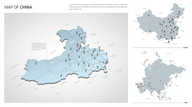 Vector set of China country.  Isometric 3d map, China map, Asia map - with region, state names and city names.