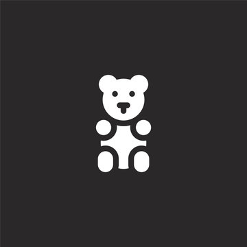 gummy bear icon. Filled gummy bear icon for website design and mobile, app development. gummy bear icon from filled dessert and candies collection isolated on black background.