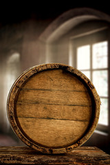 Wooden retro barrel and free space for your decoration