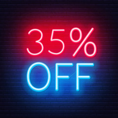 Fototapete - 35 percent off neon lettering on brick wall background. Vector illustration