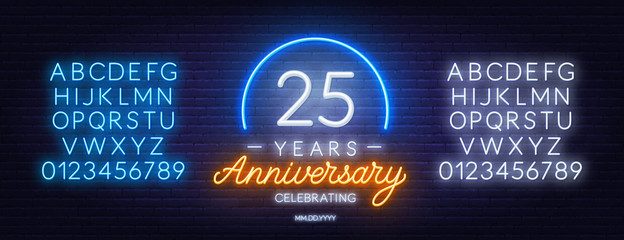 25 years anniversary neon sign on a dark background. Neon alphabet . Template for invitation or greeting card.