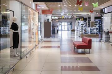 Empty indoor shopping center