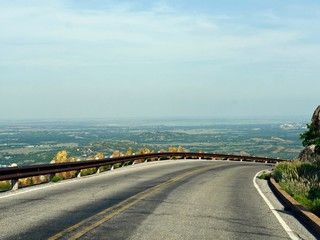 Dangerous curve in the road from the peak of Mt Scott in Oklahoma, USA.