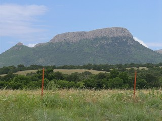 Zoomed in shot of the Wichita Mountains at the Comanche County in Oklahoma.