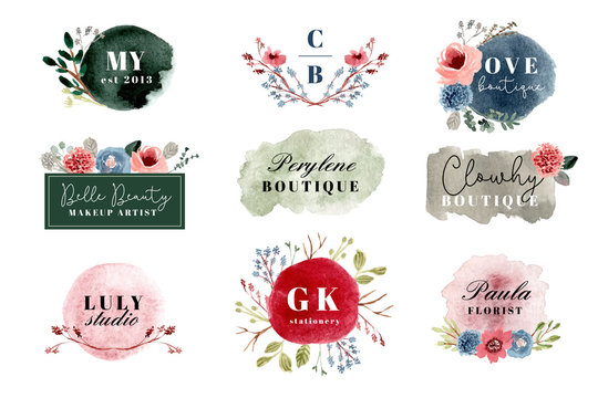 premade watercolor floral logo collection