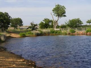 Lake Elmer Thomas near the parking lot at the Wichita Mountains, Oklahoma