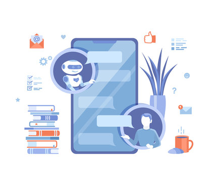 Chatbot, customer support, help services. Man chatting with chat bot by phone application. Artificial intelligence. Human asks questions, the robot responds to messages. Vector illustration on white