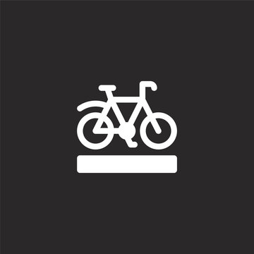 bike lane icon. Filled bike lane icon for website design and mobile, app development. bike lane icon from filled city life collection isolated on black background.