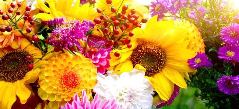 bunter Blumenstrauß mit Dahlien - Grußkarte Blumen