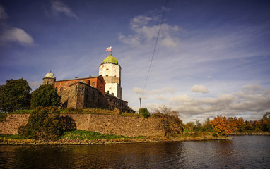 Tower of Vyborg St. Olav at sunny day