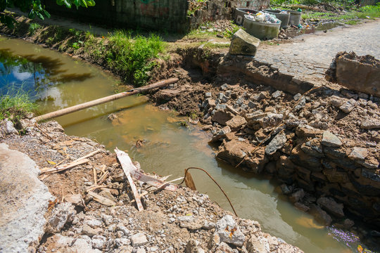 Collapsed bridge after heavy rainfall on Itamaraca Island, Brazil