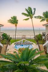 Ilha de Itamaraca, Brazil - Circa August 2019: Sunset view from a fancy condominium by the beach on Itamaraca Island (Pernambuco state)