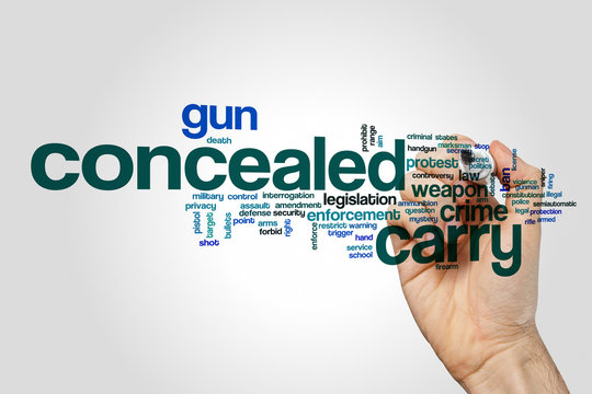 Concealed carry word cloud on grey background