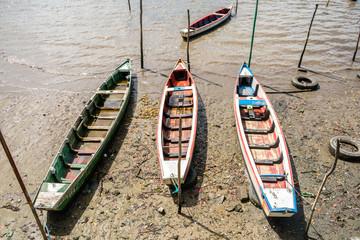 "Typical fisherman's boats called ""baitera"" by the shore in Itapissuma, Pernambuco - Brazil"