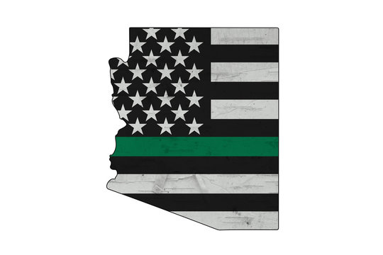American thin green line flag on map of Arizona