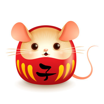 Japanese Daruma doll with rat face.