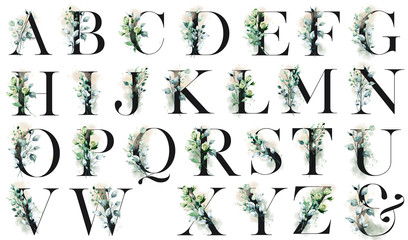 Floral alphabet, letters set with watercolor flowers and leaf. Monogram initials perfectly for wedding invitations, greeting card, logo, poster and other design. Holiday decoration hand painting.