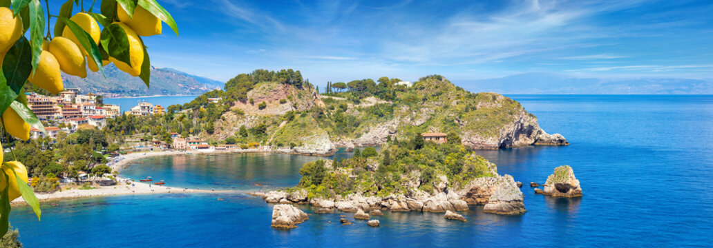 Panoramic view of Isola Bella, small island near Taormina, Sicily, Italy