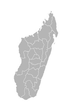 Vector isolated illustration of simplified administrative map of Madagascar. Borders of the regions. Grey silhouettes. White outline