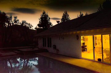 A glimpse into a southern California home, at dusk.
