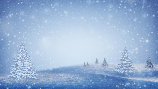 Winter landscape. Snow-covered Christmas trees on the mountain slopes. Christmas mood. Winter background.