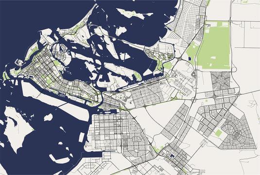 map of the city of Abu Dhabi, United Arab Emirates UAE