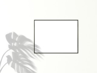 3x4 horizontal Black frame for photo or picture mockup on white background with shadow of monstera leaves. 3D rendering.