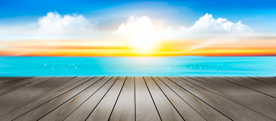Summer vacation panorama. Tropical beach with a blue sea and sunset. Vector.
