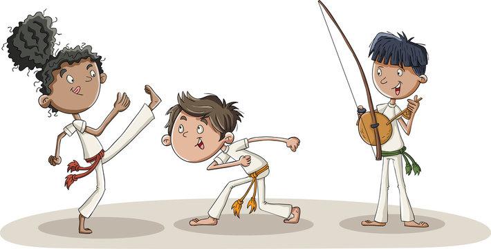 Cartoon kids practicing capoeira movements. Capoeira dancers.