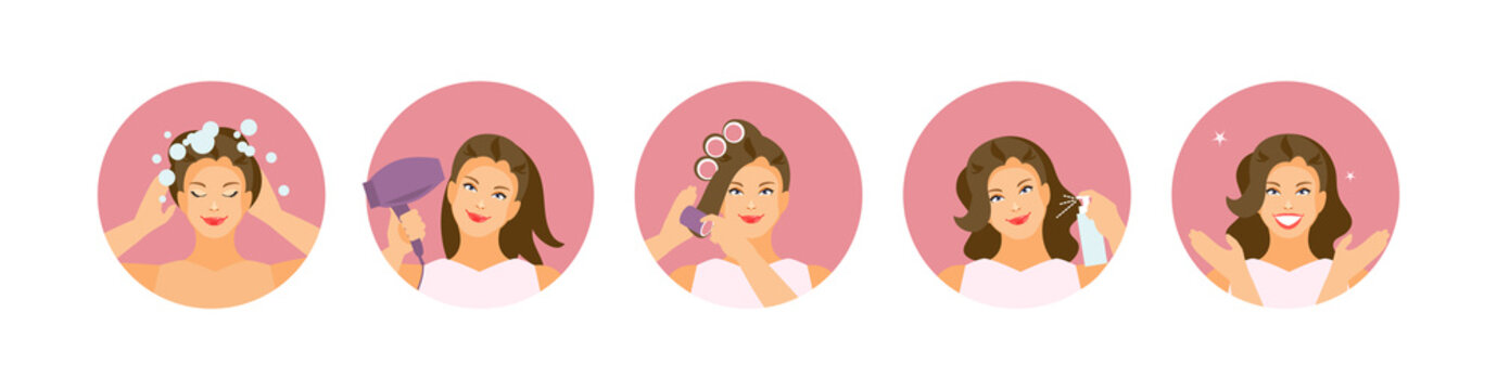 Hair styling stages vector