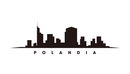 Wall Mural - Warsawa skyline and landmarks silhouette vector