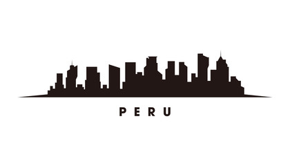 Wall Mural - Lima Peru skyline and landmarks silhouette vector