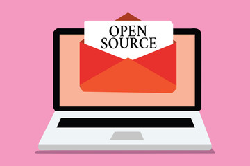 Conceptual hand writing showing Open Source. Business photo showcasing denoting software which original source code freely available Computer receiving email message envelope with paper virtual