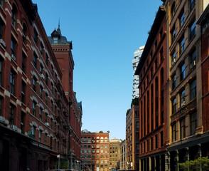 Historic buildings along Harrison Street in the Tribeca neighborhood of Manhattan in New York City