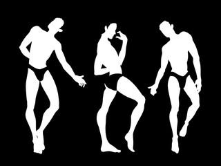 Sexy handsome men silhouettes dancing in underwear, stripper, go-go boy, gay club disco, vector illustration