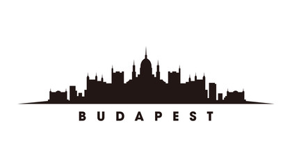 Wall Mural - Budapest skyline and landmarks silhouette vector