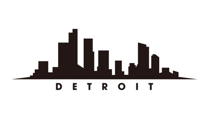 Wall Mural - Detroit skyline and landmarks silhouette vector