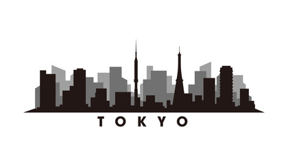 Wall Mural - Tokyo skyline and landmarks silhouette vector