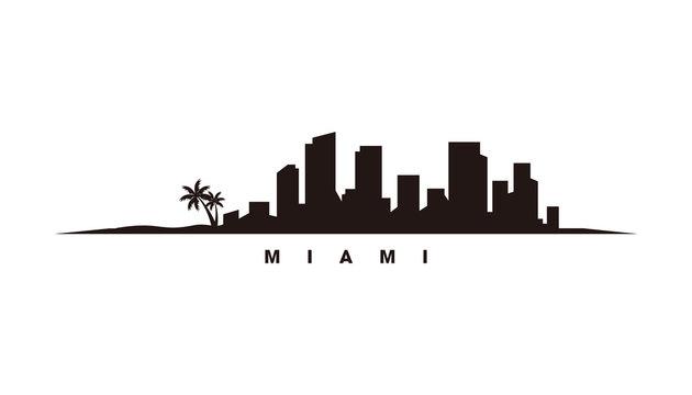 Miami skyline and landmarks silhouette vector