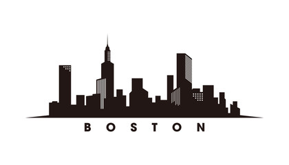 Wall Mural - Boston skyline and landmarks silhouette vector