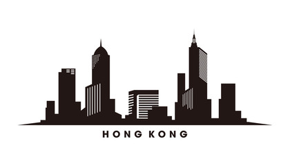 Wall Mural - Hongkong skyline and landmarks silhouette vector