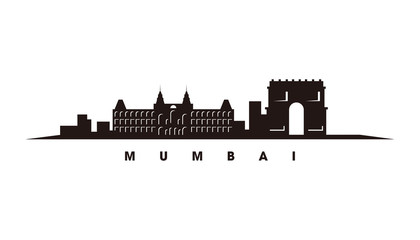Wall Mural - Mumbai skyline and landmarks silhouette vector