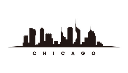 Wall Mural - Chicago skyline and landmarks silhouette vector
